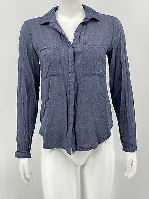 $ CDN1.24 • Buy Cloth & Stone Anthropologie Womens Button Front Top XS Blue Hi Lo Long Sleeves