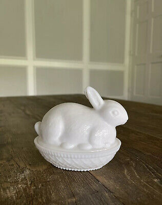 $24 • Buy Vintage Imperial Milk Glass Animal Rabbit Covered Candy Dish