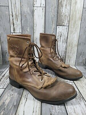 $55 • Buy Ariat Mens Kiltie Riding Boots ATS A2 Competitor Brown Distressed Lace Up Sz 10