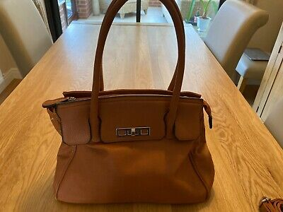 £5 • Buy Tan Faux Leather Grab Bag With Shoulder Strap