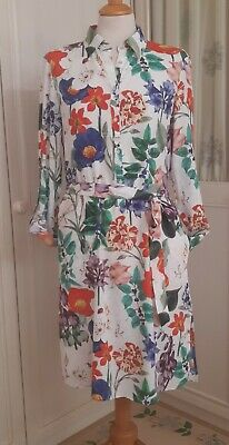 $22.23 • Buy Zara White Floral Long Sleeve Belted Shirt Dress With Side Pockets Size S