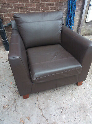 £20 • Buy Marks & Spencer Brown Leather Armchair Wooden Feet Removable Cushions