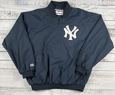$32 • Buy Majestic MLB Authentic Collection NY Yankees 1/4 Zip Windbreaker Jacket Size L