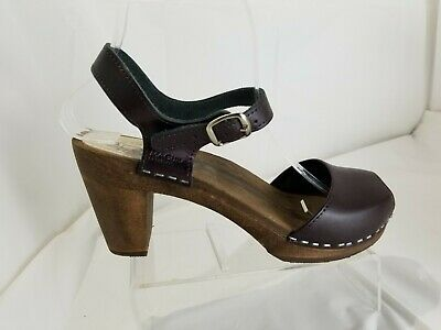 $45.89 • Buy Maguba Of Sweden Brown Leather Wood Clogs Sandals Women's Size 38 8-8.5