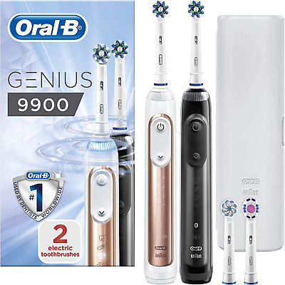 AU358.13 • Buy Oral-B Genius 9900 Set Of 2 Electric Toothbrushes Rechargeable, 2 Handles Rose 6