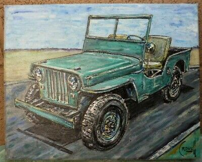 $210 • Buy 1946 Willys Jeep CJ2A Army Military New Oil Painting Original Art Signed Crowell