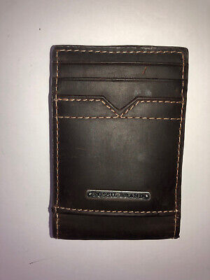 $9.99 • Buy Fossil Brown Leather Money Clip ID Front Pocket Wallet