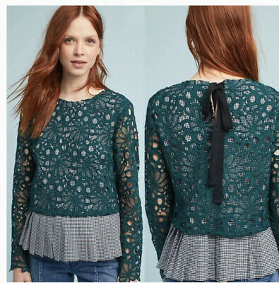 $ CDN48.69 • Buy Anthropologie Maeve Green Pleated Lace Top Gabriella Gingham Size Small