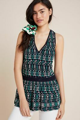 $ CDN48.69 • Buy Anthropologie Maeve Cammie Embroidered Peplum Top Navy Green Size Small