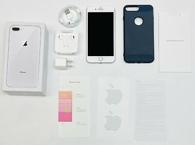 AU138.90 • Buy Genuine IPhone 8 Plus Silver 256GB COMPLETE W/ Box + Navy Case T-MOBILE WORKS