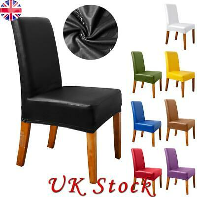 £20.27 • Buy PU Dining Chair Seat Covers Spandex Slip Banquet Home Protective Stretch Covers