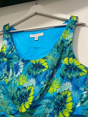 AU7 • Buy Forever New 12 Blue Aqua & Green Hawaiian DRESS Fit And Flare Flowers Lined Tiki