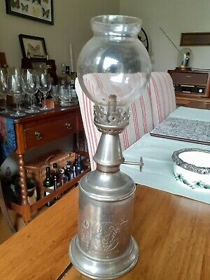 £15 • Buy Vintage French Metal Oil Lamp & Glass Shade, Authentic Lampe Feutree Abeille Bee