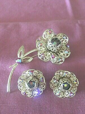 $5.99 • Buy Vintage Sarah Coventry Demi ~ Brooch/Pin & Earring Set ~  Fashion Flower  ~ 1961