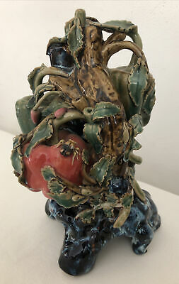 """£59 • Buy Majolica Style Art Pottery Vase 9"""" Tall With Branch Foliage, Peppers & Insect"""
