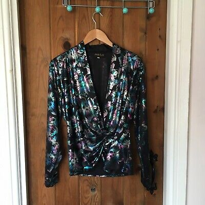 £12.99 • Buy Masai Vintage 80's Black Floral Shiny Silver Disco Night Out Blouse Top - 12