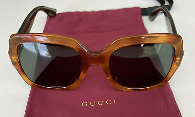 £27.70 • Buy Gucci Sunglasses GG0036S 003 Havana Green Glitter & Red Arms. Brown Frame Unisex
