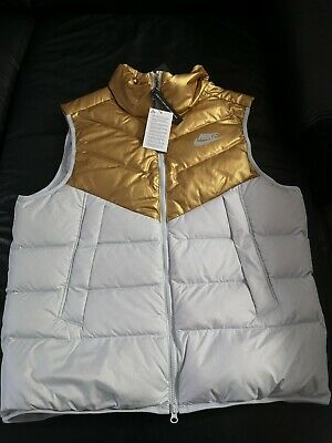 £98.99 • Buy Nike Down Fill Puffer Body Warmer Gilet Size Large Brand New Colour White Gold