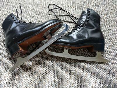 $129.95 • Buy Mens Vintage RIEDELL Ice Skates Black 7.5 Boots Wilson Sheffield Blades Boots