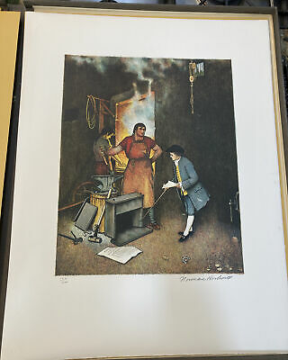 $ CDN871.46 • Buy NORMAN ROCKWELL Pencil Signed THE VILLAGE SMITHY Numbered LIMITED EDITION S/N