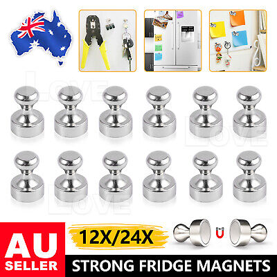 AU16.45 • Buy 12/24 Mini Strong Fridge Magnets Whiteboard Push Pins For Message Board Stickers