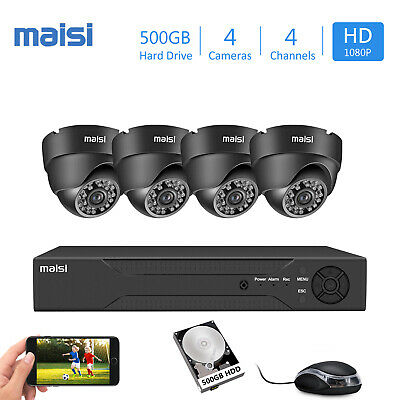 £129.99 • Buy CCTV Video Home Security 2MP Dome Camera System HD 1080P 4CH DVR With Hard Drive