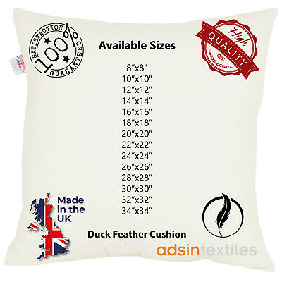 £7.92 • Buy Duck Feather White Cushion Pads Inner Stuff Insert Square 100% Cotton Down Proof