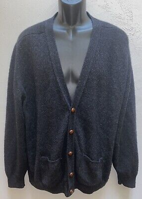 $39.99 • Buy LL Bean Mens Large Gray Lambswool Cardigan Sweater Made In Scotland