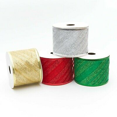 £2.70 • Buy Wired Glitter Stripe Ribbon 63mm Red, Green, Silver & Gold Crafts Bows Christmas