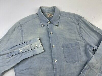 $9.99 • Buy Faherty Blue Chambray Long Sleeve Button Down Shirt Men's Small