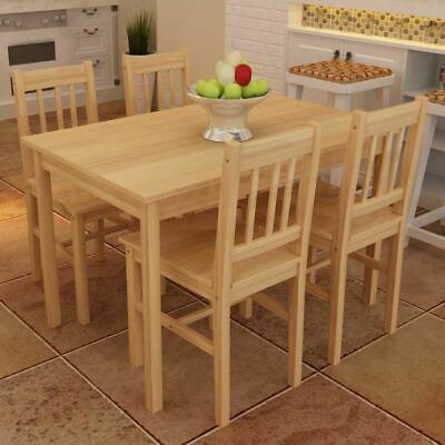 AU288.95 • Buy 5 Pcs Solid Wood Dining Set 4 Seater Table And Chairs Kitchen Wooden Furniture