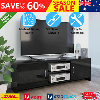 AU84.07 • Buy Stylish TV Stand Rack With 2 Doors Stereo Entertainment Unit Cabinet High Gloss