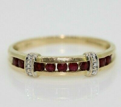£150 • Buy 9ct Yellow Gold Ruby Eternity Ring Size P, US 7 1/2