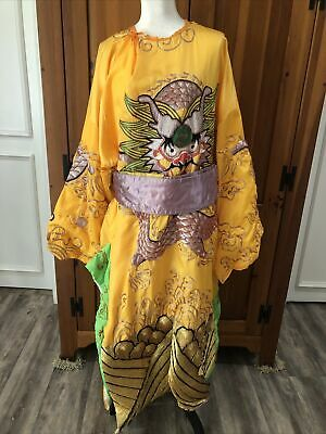 £251.90 • Buy Vintage Chinese Imperial Dragon Robe Embroidered Satin Beautiful Sash  One Size