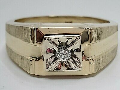 $399.99 • Buy Mens 14k Solid Yellow Gold .10ct Nat. Diamond Vintage Solitaire Ring Size 9.25