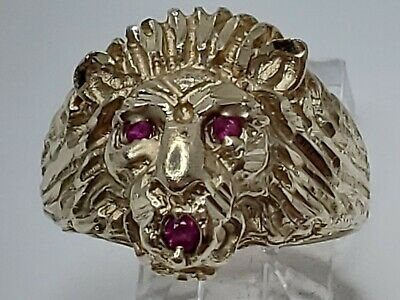 $599.99 • Buy Mens 14k Solid Yellow Gold Ruby Lion Head Diamond Cut Heavy Ring Size 9.25