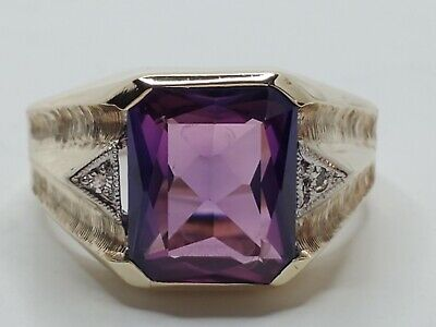 $399.99 • Buy Mens 10k Solid Yellow Gold 6.25ct Purple Sapphire Diamond Accents Ring Size 10