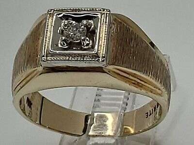 $324.99 • Buy Mens 10k Solid Yellow Gold .10ct Natural Diamond Solitaire Vintage Ring Size 9.5