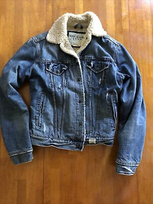 $25 • Buy Abercrombie & Fitch Mens Denim Trucker Jean Jacket  Size S High Quality Material