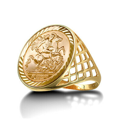 £314.99 • Buy 9ct Gold St George Dragon Slayer Basket Full-Sovereign-Size Ring
