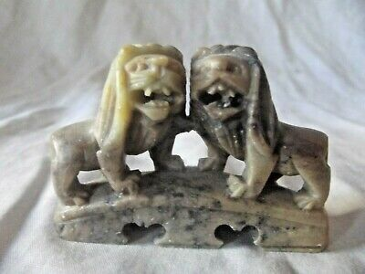 £34.95 • Buy  Chinese Small Pair Of Temple Lion Dogs / Foo Dogs Hand Carved Hardstone 5 Cm