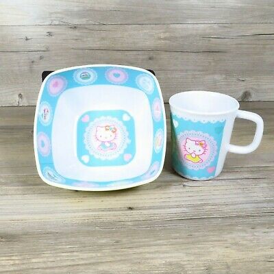 £16.85 • Buy Hello Kitty Sanrio Bowl And Cup Set 2007 Blue Pink Yellow