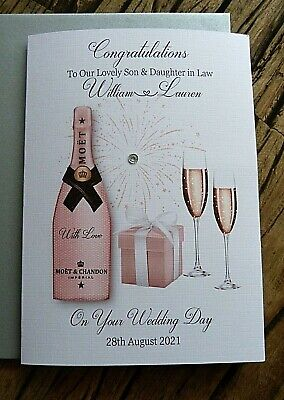 £4.95 • Buy  Handmade Personalised Wedding Day Card .Champagne Congratulations   Size C5