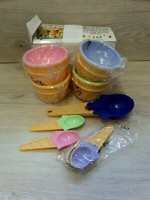 £12 • Buy Vintage Retro Sweet Scoop Novelty Ice Cream Cone Bowls And Spoons Set With Scoop