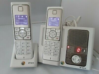 £29 • Buy BT Verve 450 Twin Handsets In White With Answer Machine *NEW BATTERIES FITTED*