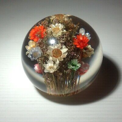 £15 • Buy Hafod Grange Multicoloured Floral Resin Paperweight - 2 3/8 (6cms)