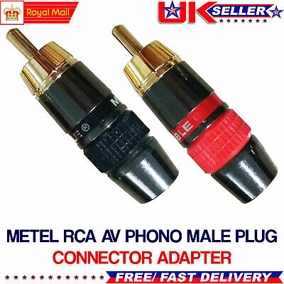£2.45 • Buy 2Pcs RCA Male Plug Adapter Solder Audio Video Phono Gold Plated Cable Connector