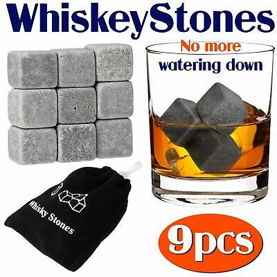 £3.62 • Buy New 9 Whisky Ice Stones Drinks Whiskey Scotch Cooler Cubes Rocks Granite & Pouch