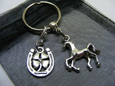£3.95 • Buy Horse Pony & Lucky Clover Horseshoe Charm Keyring With Gift Bag (NC)