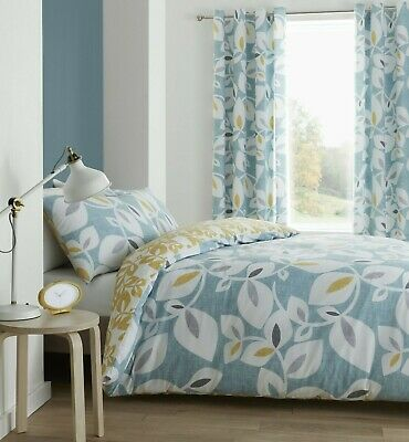 £26.99 • Buy Catherine Lansfield Inga Leaf  Teal Duvet Cover Sets- Matching Curtains Separate